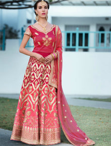 Colourful VAS1207 Shaded Pink Magenta Silk Net Lehenga Choli by Fashion Nation