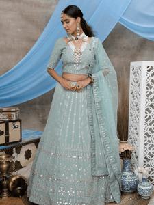 Embroidered Dusty Green Georgette Lehenga Choli by Fashion Nation