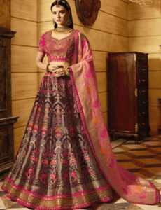 Magnificent VIR13206 Bridal Magenta Pink Silk Lehenga Choli by Fashion Nation