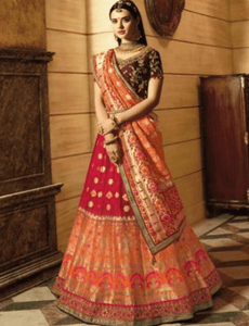 Magical VIR13210 Bridal Orange Pink Purple Silk Lehenga Choli - Fashion Nation