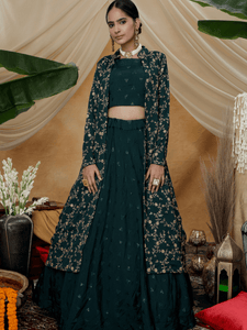 Smart Indo Western KF1321 Green Chinon Lehenga Choli with Long Jacket by Fashion Nation