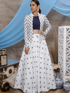 Fusion Fashion Indo Western KF1322 White Blue Cotton Lehenga Choli with Jacket by Fashion Nation