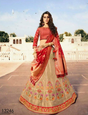 Grand VIR13246 Bridal Beige Red Jacquard Silk Chaniya Choli by Fashion Nation