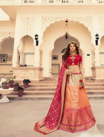 Heritage VIR13248 Bridal Shaded Multicoloured Jacquard Silk Lengha Choli by Fashion Nation
