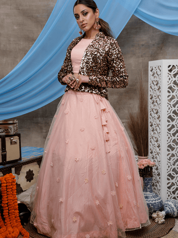 Party Wear Indo Western KF1324 Peach Net Black Velvet Lehenga Choli with Jacket by Fashion Nation