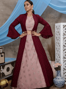 Charming Indo Western KF1325 Dusty Pink Net Purple Chinon Lehenga Choli with Long Jacket by Fashion Nation
