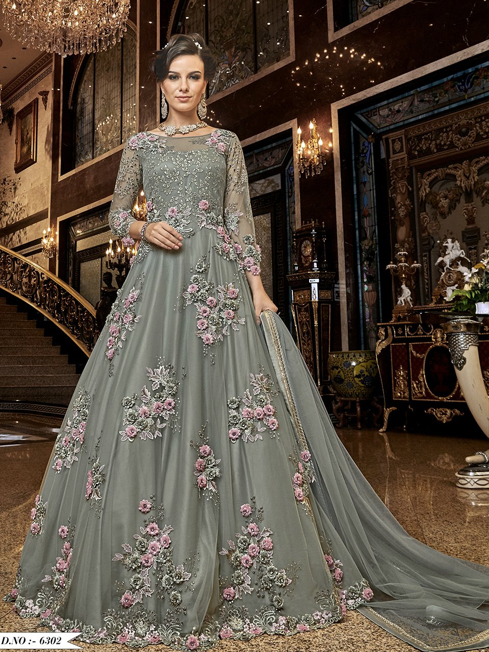 Delicate Indo Western K136721 Grey Net Silk Floor Length Anarkali Gown - Fashion Nation