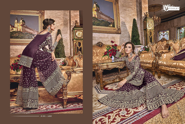 Latest Indo Western K136722 Burgundy Net Sharara Salwar Suit - Fashion Nation