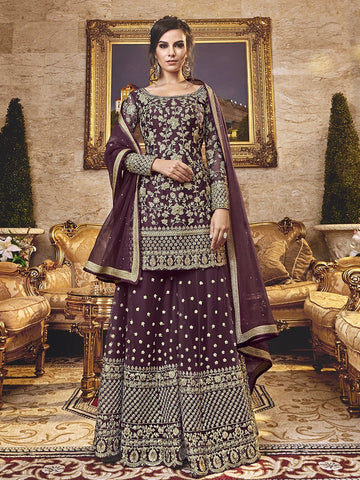 Latest Indo Western K136722 Burgundy Net Sharara Salwar Suit - Fashion Nation.in