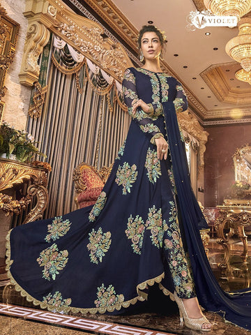Designer Indo Western K136723 Blue Silk Asymmetrical Front Slit Anarkali - Fashion Nation