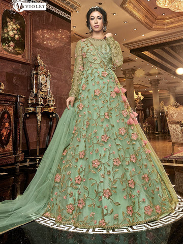Stylish Indo Western K136725 Green Net Silk Floor Length Anarkali Gown - Fashion Nation