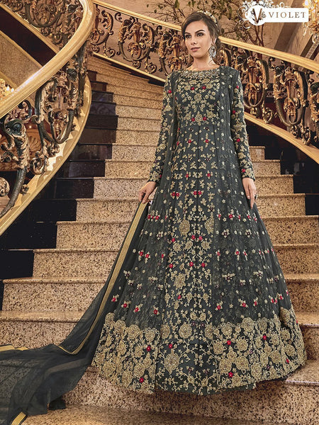 Fashionable Indo Western K136726 Grey Net Silk Floor Length Anarkali Gown - Fashion Nation