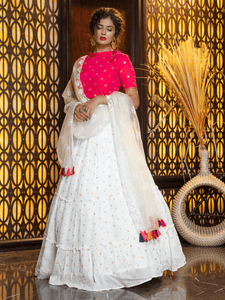 Celebrations Wear White Cotton Tiered Lehenga with Rani Top by Fashion Nation