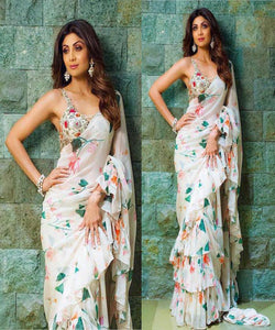 Shilpa Shetty 142 Bollywood Inspired Multicoloured Georgette Silk Ruffle Saree by Fashion Nation