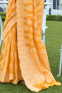 Haldi Party Wear Banarasi Lucknowi Saree at Cheapest Prices by Fashion Nation