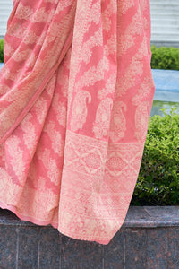 Marriage Functions Wear Banarasi Lucknowi Saree at Cheapest Prices by Fashion Nation