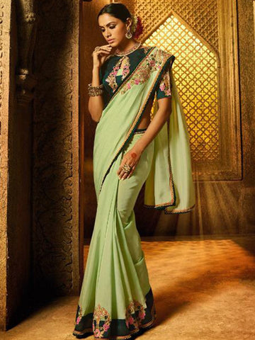 Designer ARD2113 Finest Pista Green Silk Saree - Fashion Nation