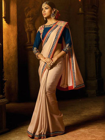 Party Wear ARD2118 Special Beige Blue Silk Saree - Fashion Nation