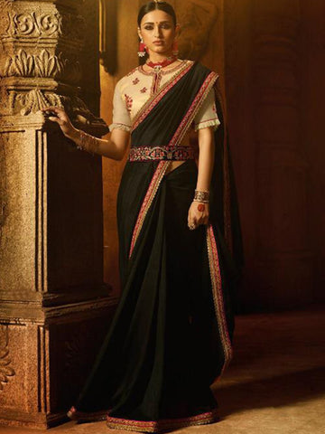 Trendsetter ARD2119 Stylish Black Beige Silk Saree with Belt - Fashion Nation