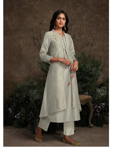 Summer Special KS148933 Designer Grey Silk Readymade Double Layered Kurta with Pants - Fashion Nation