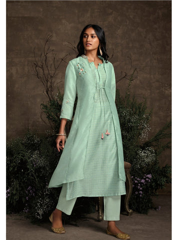 Summer Special KS148934 Designer Aqua Silk Readymade Double Layered Kurta with Pants - Fashion Nation