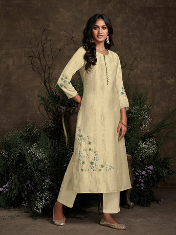 Fresh KS148937 Summery Cream Silk Readymade Kurta with Pants - Fashion Nation