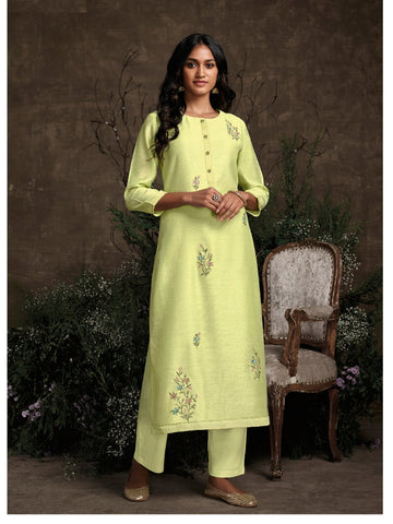 Fresh KS148939 Summery Pista Green Silk Readymade Kurta with Pants - Fashion Nation