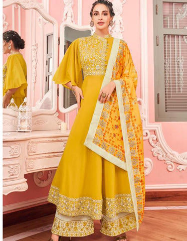 Festive KS159786 Yellow Cream Muslin Readymade Kurta with Palazzo & Dupatta by Fashion Nation