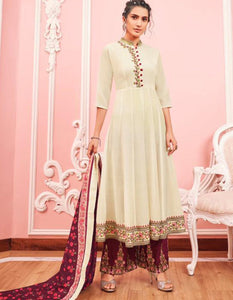 Comfortable KS159788 Cream Muslin Readymade Kurta with Palazzo & Dupatta by Fashion Nation