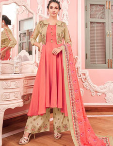 Stylish KS159789 Pink Muslin Readymade Kurta with Koti Palazzo & Dupatta by Fashion Nation