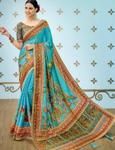 Traditional SS1602 Majestic Multicoloured Benarasi Silk Saree by Fashion Nation