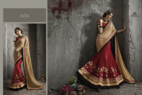 SSN1708 Designer Beige Dusty Pink Georgette Net Saree - Fashion Nation