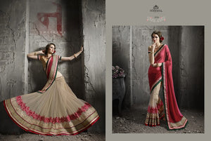 SSN1713 Designer Pink Beige Net Saree - Fashion Nation