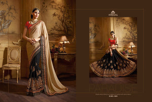 Attractive NIR1804 Designer Black Beige Red Georgette Satin Saree - Fashion Nation