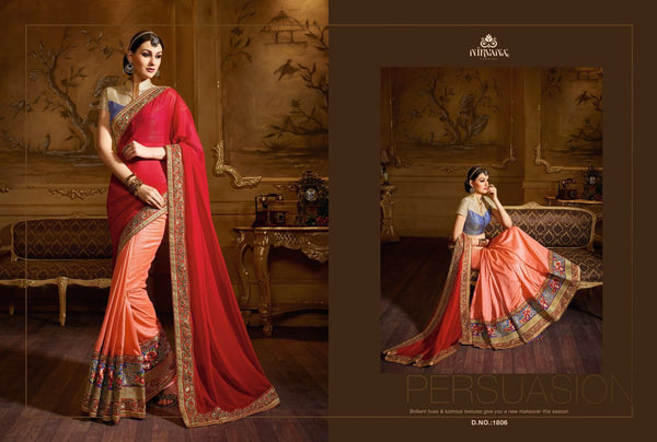 Trendy NIR1806 Designer Peach Pink Net Georgette Brocade Saree - Fashion Nation.in  - 1