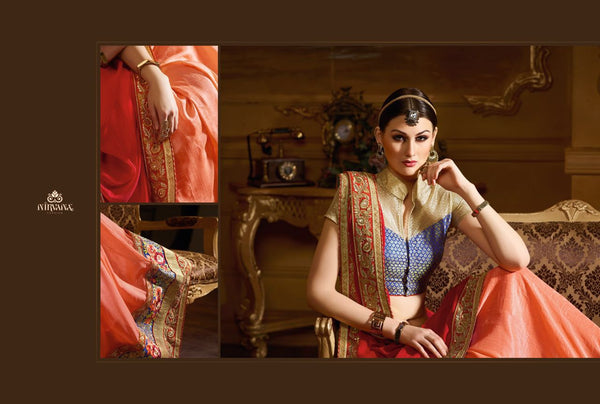 Trendy NIR1806 Designer Peach Pink Net Georgette Brocade Saree - Fashion Nation.in  - 2