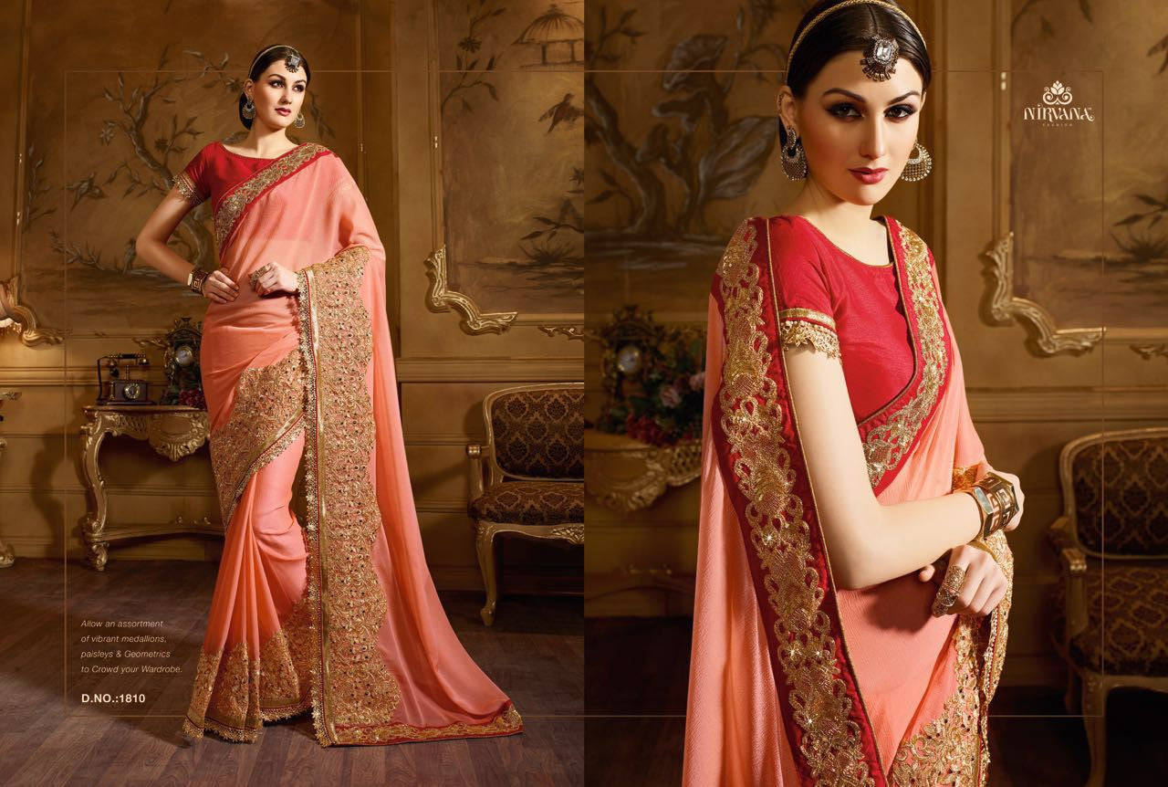 Great Craftsmanship NIR1810 Designer Peach Red Georgette Saree - Fashion Nation.in