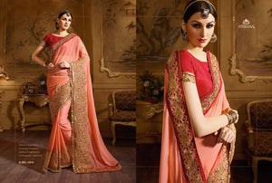 Great Craftsmanship NIR1810 Designer Peach Red Georgette Saree - Fashion Nation