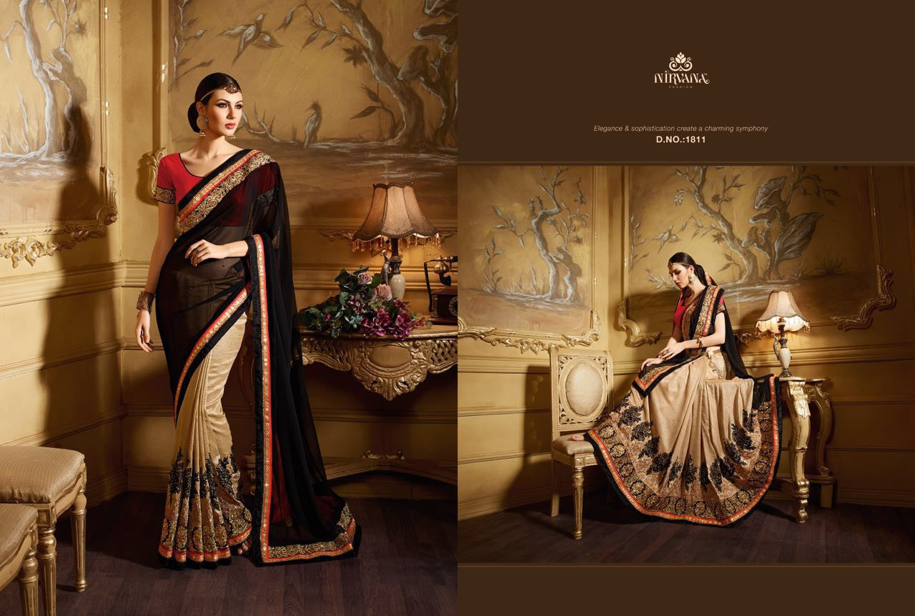 Partywear NIR1811 Designer Beige Black Red Georgette Saree - Fashion Nation.in