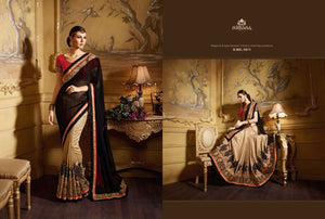 Partywear NIR1811 Designer Beige Black Red Georgette Saree - Fashion Nation
