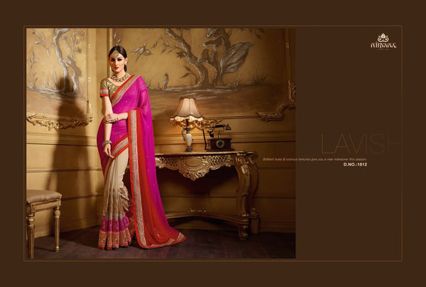 Brilliant NIR1812 Designer Beige Shaded Multicoloured Georgette Saree - Fashion Nation