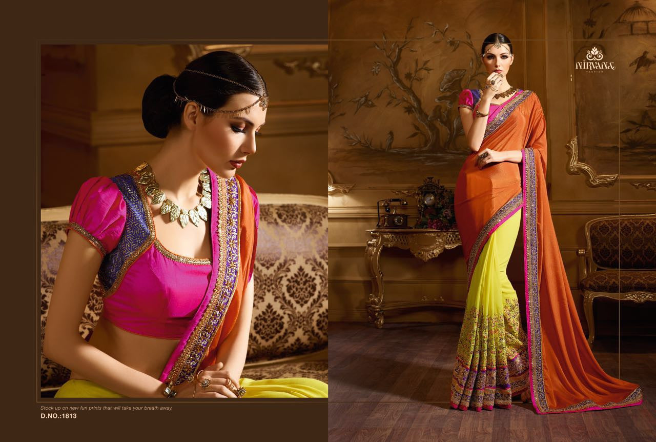 BreathTaking NIR1813 Designer Orange Yellow Georgette Chiffon Saree - Fashion Nation