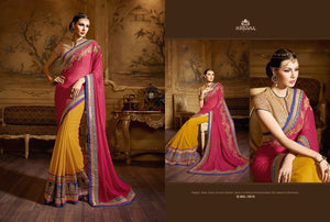 Excellent NIR1815 Designer Orange Pink Georgette Saree - Fashion Nation.in