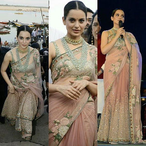 Kangana Ranaut KH18687 Bollywood Inspired Peach Cream Nylon Net Saree