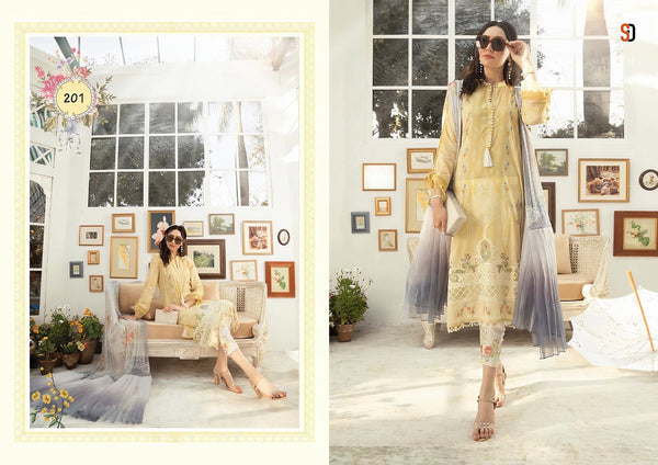 Indo Western A2Z201 Party Wear Cream Multicoloured Lawn Cotton Pakistani Suit with Pants - Fashion Nation
