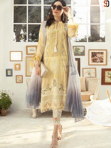 Indo Western A2Z201 Party Wear Cream Multicoloured Lawn Cotton Pakistani Suit with Pants by Fashion Nation