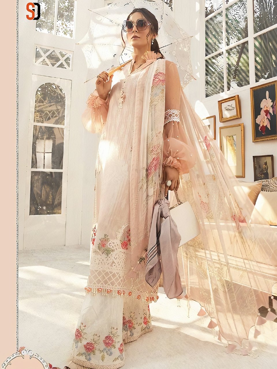 Indus Fashion A2Z202 Pink Multicoloured Lawn Cotton Pakistani Suit with Palazzo - Fashion Nation