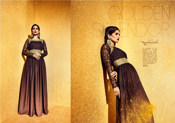 NAK3031 Awesome Party Indo Western Shaded Brown Moss Net Anarkali Gown - Fashion Nation