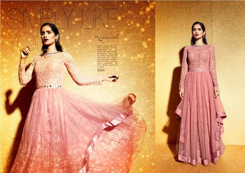NAK3034 Awesome Party Indo Western Peach Net Anarkali Gown - Fashion Nation