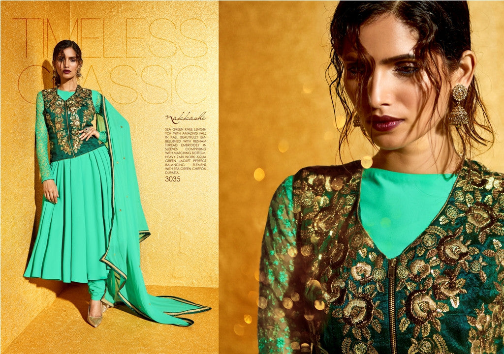 NAK3035 Attractive Trendy Ethnic Green Georgette Salwar Suit with Jacket - Fashion Nation